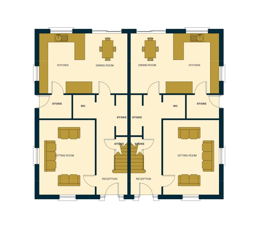 Ballintine Park, House plan of semi detached ground floor house