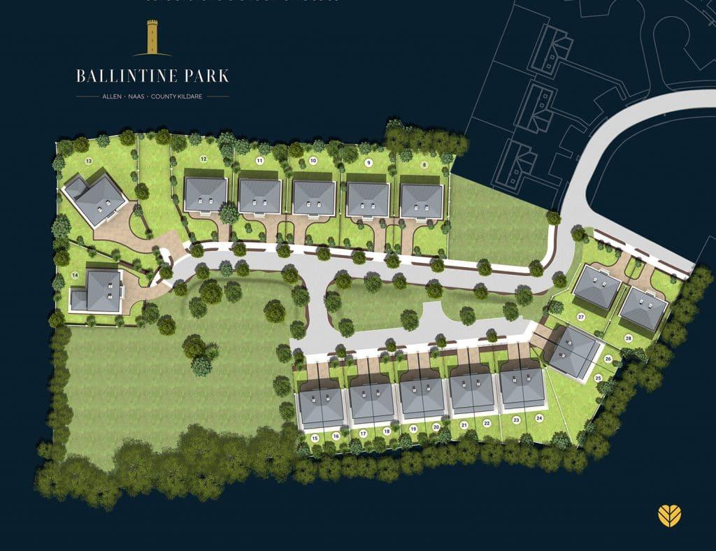 Site plan of new houses in Ballintine Park, Allen, Co. Kildare